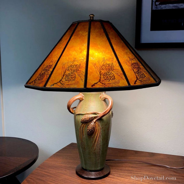 Handcrafted Ceramic Table Lamp with Handmade Mica shade.