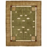 Arts & Crafts Gingko Rug, handwoven in New Zealand Wool